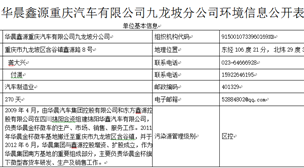 华晨鑫源重庆汽车有限公司九龙坡分公司环境信息公开表