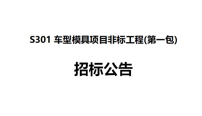 S301车型模具项目非标工程(第一包) 招标公告