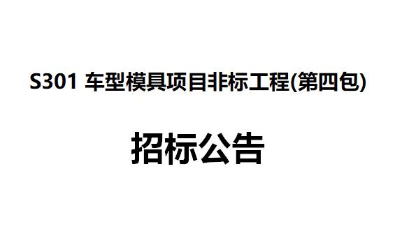 S301车型模具项目非标工程(第四包) 招标公告