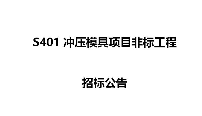 S401冲压模具项目非标工程  招标公告